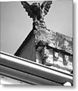 Rooftop Gargoyle Statue Above French Quarter New Orleans Black And White Diffuse Glow Digital Art Metal Print by Shawn O'Brien