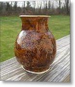 Root Beer Vase Metal Print by Monika Hood