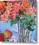 Roses And Peaches Metal Print by Carol Mangano