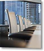 Row Of Chairs And A Table In A Conference Room Metal Print by Jetta Productions, Inc