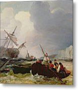 Rowing Boat Going To The Aid Of A Man-o'-war In A Storm Metal Print by George Chambers