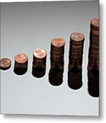 Rows Of Stacks Of Five Cent Euro Coins Increasing In Size Metal Print by Larry Washburn