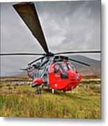 Royal Navy Sar Sea King Xz920 Glencoe Metal Print by Gary Eason