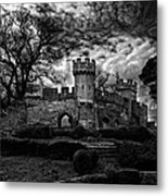 Ruins Of Warwick In Black And White Metal Print by Laura George