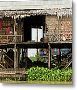 Rural Fishermen Houses In Cambodia Metal Print by Artur Bogacki