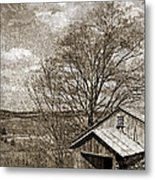 Rustic Hillside Barn Metal Print by John Stephens
