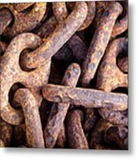 Rusty Anchor Chains In Key West Metal Print by Adam Pender