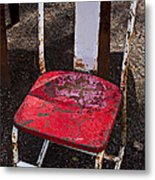 Rusty Metal Chair Metal Print by Garry Gay