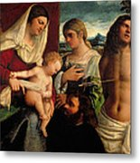 Sacra Conversatione With Ss Catherine Sebastian And Holy Family Metal Print by Sebastiano de Piombo
