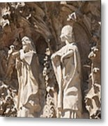 Sagrada Familia Nativity Facade Detail Metal Print by Matthias Hauser