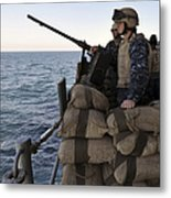 Sailors Stand Small Caliber Attack Team Metal Print by Stocktrek Images