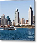 San Diego Skyline And Tour Boat Metal Print by Paul Velgos