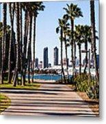 San Diego Skyline With Coronado Island Bayshore Bikeway Metal Print by Paul Velgos