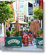 San Francisco - Maiden Lane - Outdoor Lunch At Mocca Cafe - 5d17932 - Painterly Metal Print by Wingsdomain Art and Photography