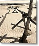 Sand And Fences Metal Print by Heather Applegate