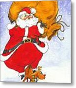 Santa And Rudolph Metal Print by Peggy Wilson