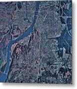 Satellite View Of Little Rock, Arkansas Metal Print by Stocktrek Images