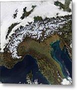 Satellite View Of The Alps Metal Print by Stocktrek Images