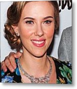 Scarlett Johansson Wearing Van Cleef & Metal Print by Everett