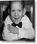Schoolboy At Desk Metal Print by George Marks