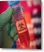 Scientist Hold A Biohazardous Sample Metal Print by Greg Dale