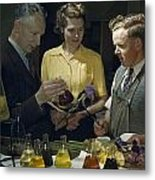 Scientists Examine Results Of Tests Metal Print by B. Anthony Stewart