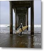 Scripps Pier Surfer Metal Print by Bob Christopher
