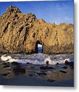 Sea Arch At Pfeiffer Beach Big Sur Metal Print by Tim Fitzharris