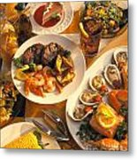 Seafood And Steak Buffet Dinners Metal Print by Vance Fox