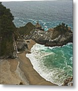Seascape And Waterfall At Julia Pfeiffer Burns State Park Metal Print by Gregory Scott