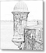 Sentry Tower Castillo San Felipe Del Morro Fortress San Juan Puerto Rico Line Art Black And White Metal Print by Shawn O'Brien