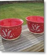 Set Of Small Red Bowls Metal Print by Monika Hood