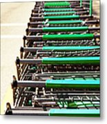 Shopping Carts Stacked Together Metal Print by Skip Nall