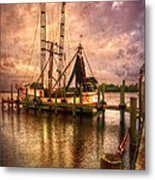 Shrimp Boat At Sunset II Metal Print by Debra and Dave Vanderlaan