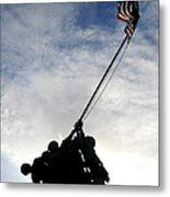 Silhouette Of The Iwo Jima Statue Metal Print by Michael Wood