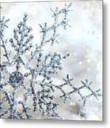 Silver Blue Snowflake  Metal Print by Sandra Cunningham