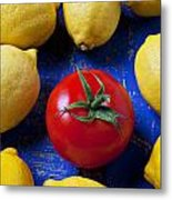Single Tomato With Lemons Metal Print by Garry Gay