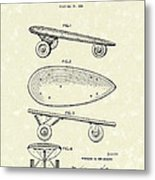 Skateboard Coaster Car 1948 Patent Art  Metal Print by Prior Art Design