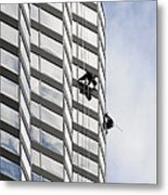 Skyscraper Window-washers - Take A Walk In The Clouds Metal Print by Christine Till