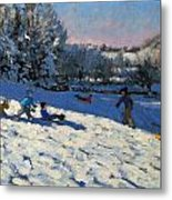 Sledging Near Youlgreave Metal Print by Andrew Macara