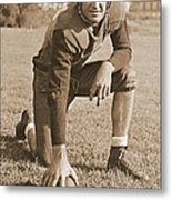 Slingin' Sammy Baugh 1937 Sepia Metal Print by Padre Art