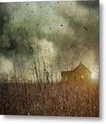 Small Abandoned Farm House With Storm Clouds In Field Metal Print by Sandra Cunningham