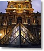 Small Glass Pyramid Outside The Louvre Metal Print by Axiom Photographic