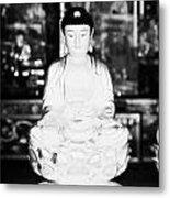 Small Golden Buddha Statue In Monastery Of Ten Thousand Buddhas Sha Tin New Territories Hong Kong Metal Print by Joe Fox