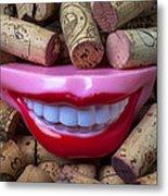 Smile Among Wine Corks Metal Print by Garry Gay