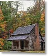 Smoky Mountains Log Capbin Metal Print by Charles Warren