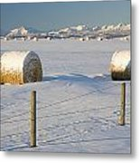 Snow Covered Hay Bales In A Snow Metal Print by Michael Interisano