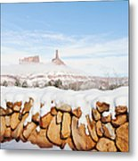 Snow Covered Rock Wall Metal Print by Thom Gourley/Flatbread Images, LLC