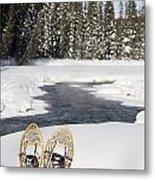 Snowshoes By Snowy Lake Lake Louise Metal Print by Michael Interisano