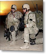 Soldiers Call In Air Support Metal Print by Stocktrek Images